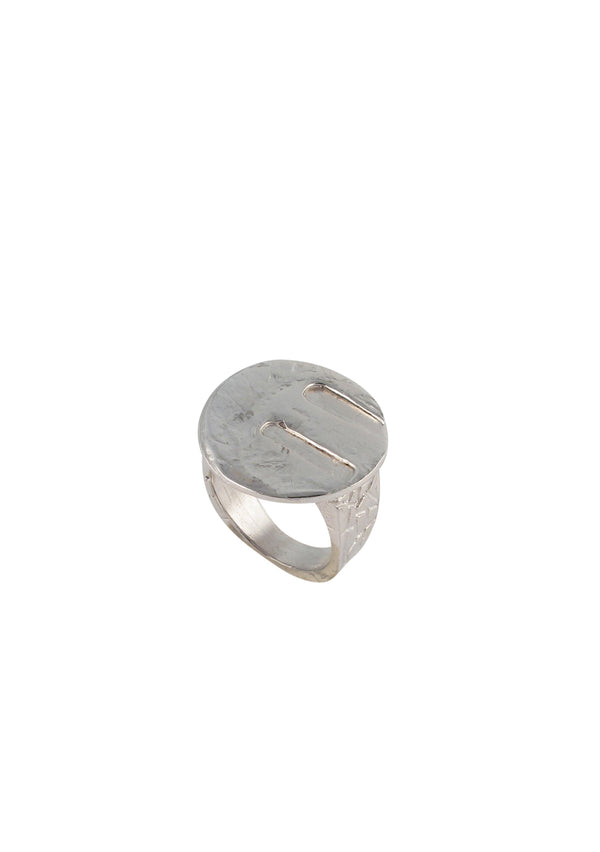 Rhodium Textured Coin Ring