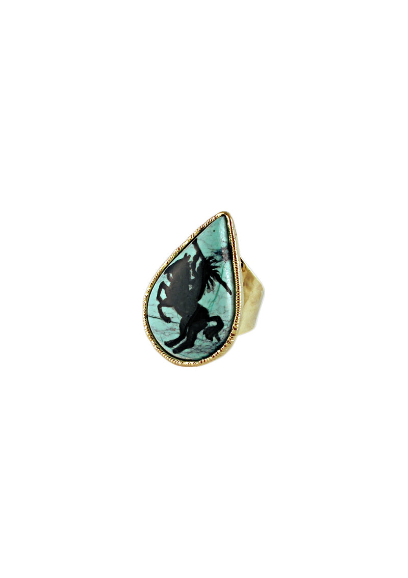 One of a Kind Natural Mohave Turquoise Hand-Painted Ring