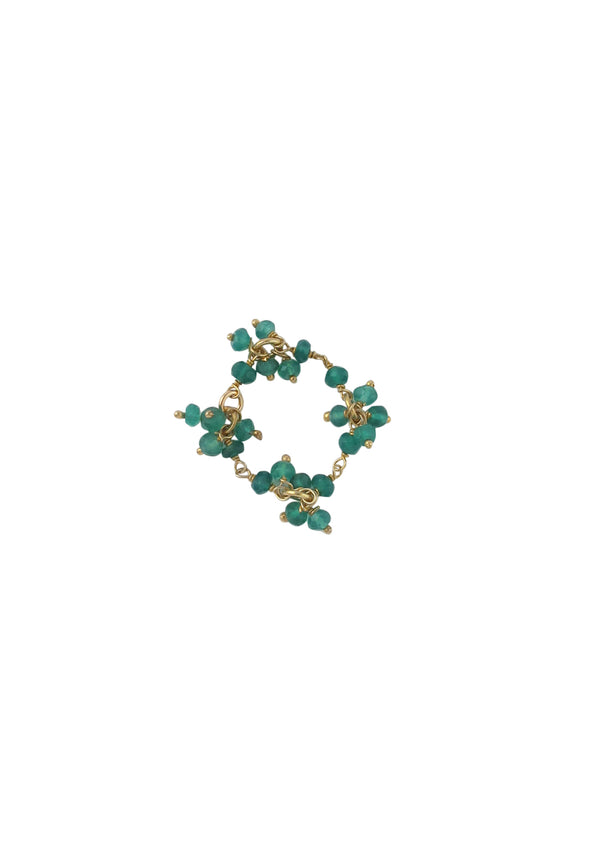 Green Onyx Cluster Gold Ring