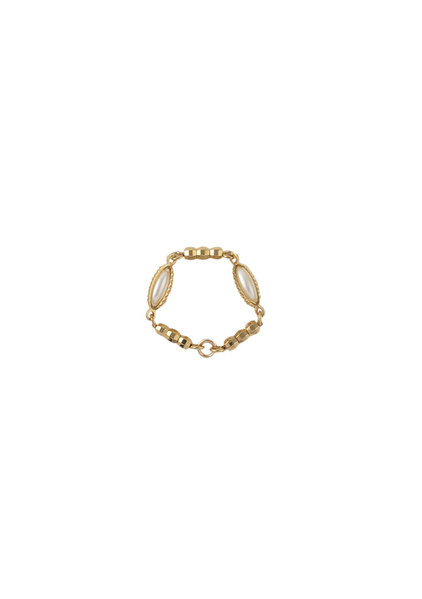 Rice Caged Pearl Gold Ring
