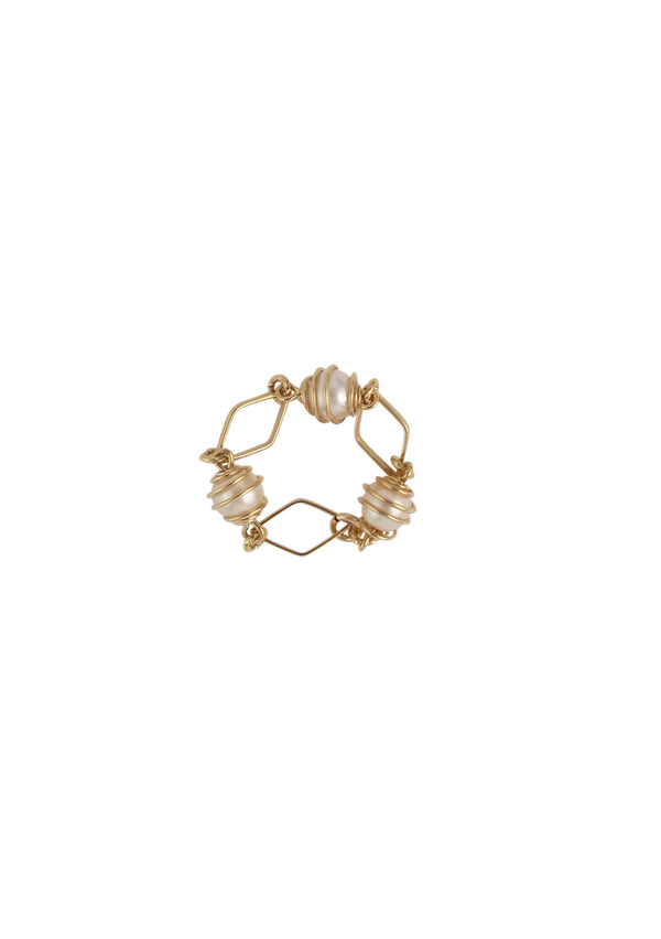 Caged Pearl Gold Ring