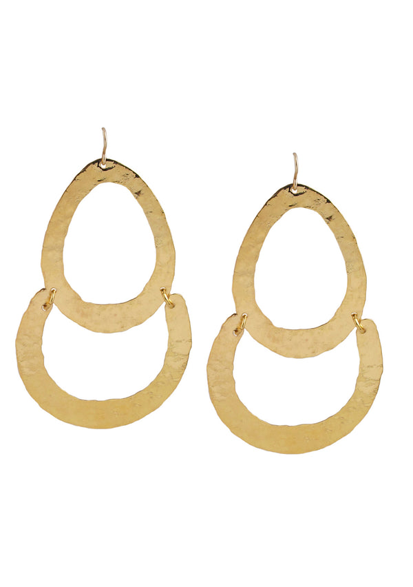 Large Hammered Gold Earrings