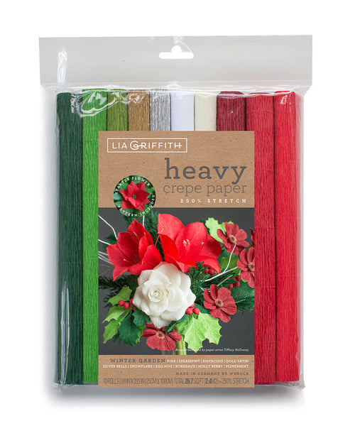 10-Pack - Heavy Floristic Crepe Paper - Winter Garden