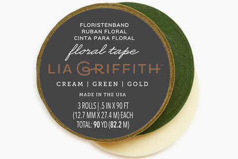 Floral Tape - Cream + Green + Gold 3-Pack