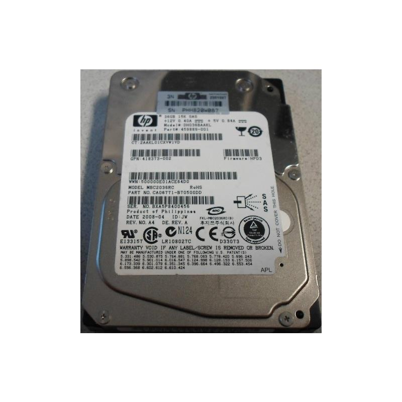 HP 459889-001 36Gb 15000Rpm Sas3Gbits 2.5Inch Hot Plug Dualport Hard Disk Drive With Tray