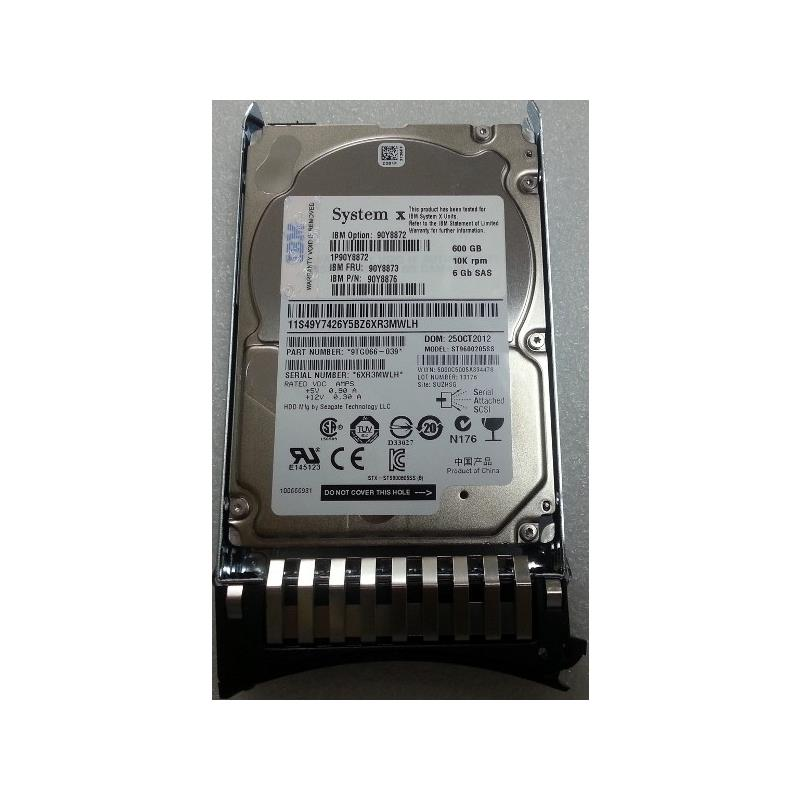 IBM 90Y8874  600Gb 10000Rpm Sas 6Gbps G2 2.5Inch Hot Pluggable Sff Hard Drive With Tray