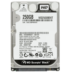 Western Digital Scorpio Black 250Gb 7200Rpm Sataii 7Pin 16Mb Buffer 2.5Inch Notebook Drive With Shock Guard