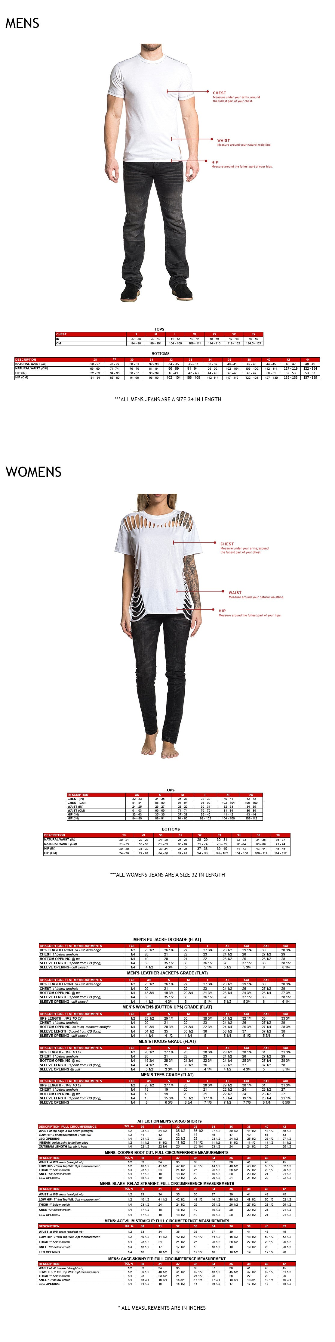 size and garment spec chart