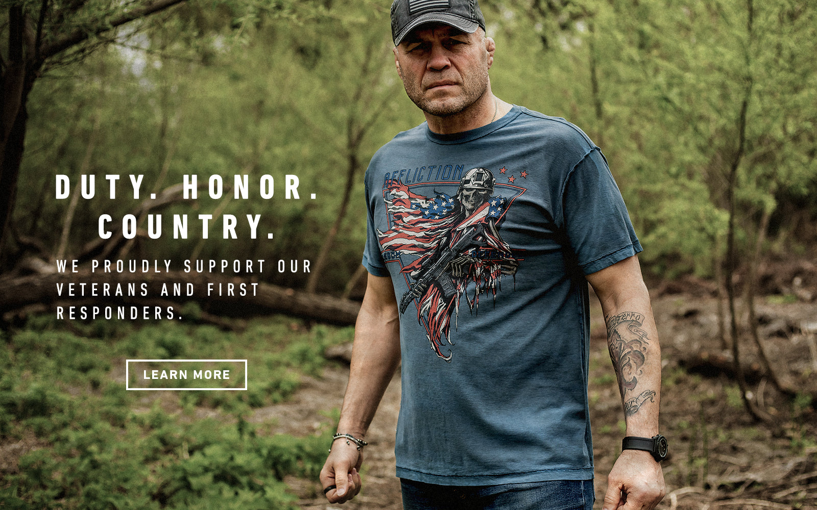 duty honor country - we proudly support out veterans and first responders - learn more