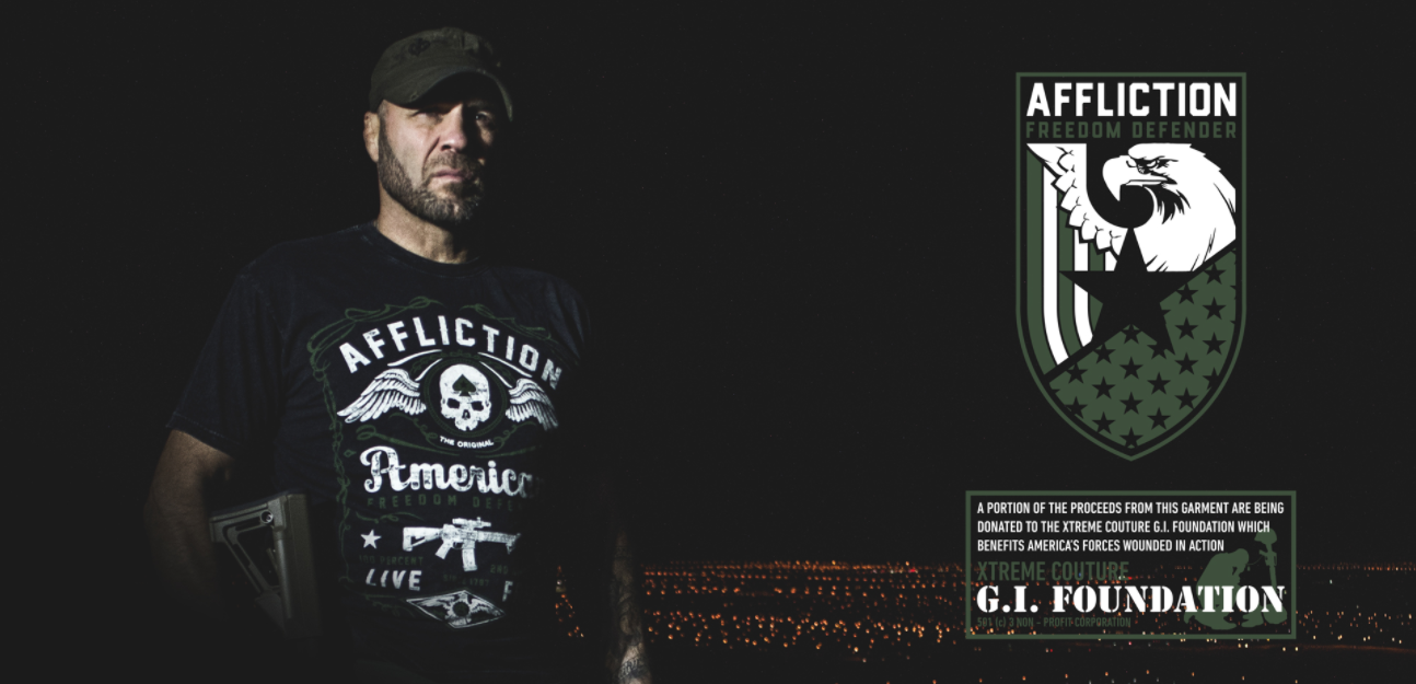 freedom defender randy couture xcgif gi foundation affliction freedom liberty veteran
