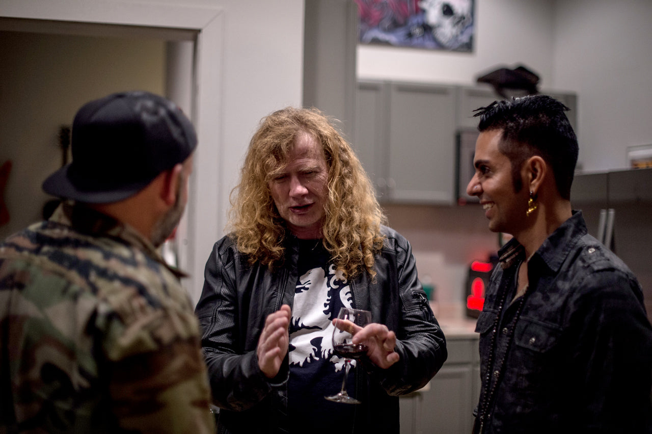 DAVE MUSTAINE FROM MEGADETH LAYS IT OUT FOR JOSE MANGIN AND ERIC FOSS OF AFFLICTION
