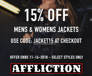 Use code JACKET15 at checkout to get 15% OFF these select Mens & Womens Jackets.