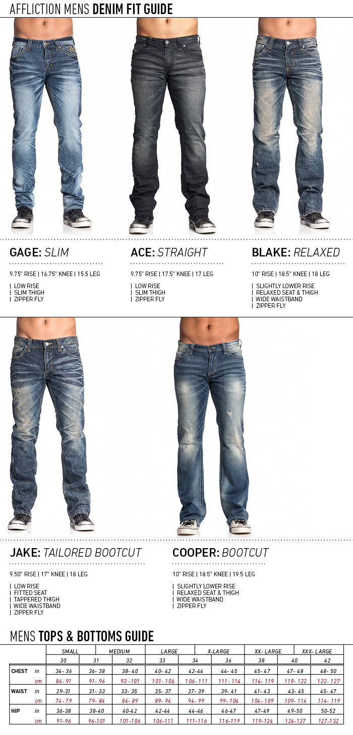 AFFLICTION MENS SIZE GUIDE