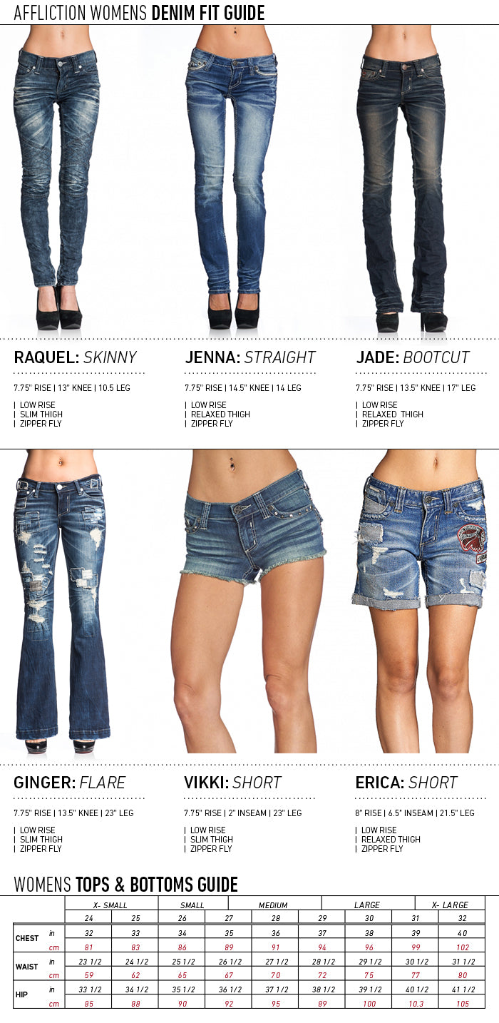 AFFLICTION WOMEN SIZE GUIDE