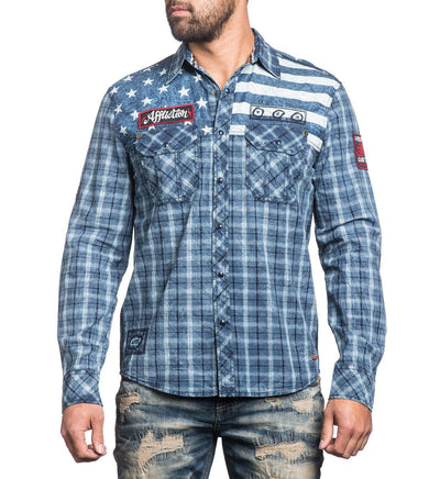 American Brave - Mens Button Down Tops - Affliction Clothing