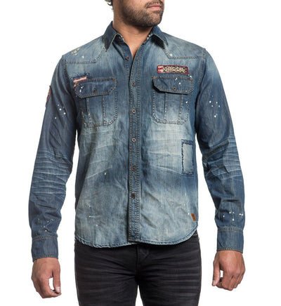 Blue Eagle - Mens Button Down Tops - Affliction Clothing