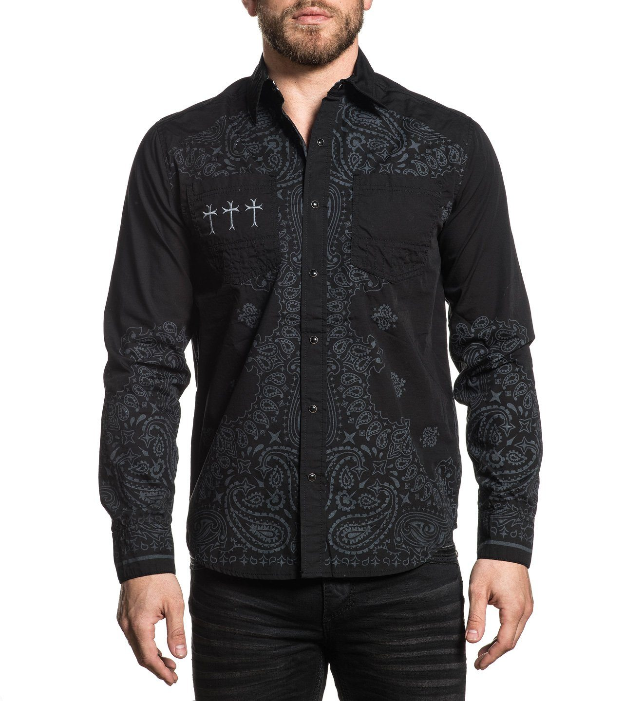 Crucial - Mens Button Down Tops - Affliction Clothing