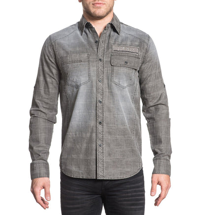 Gritty Ash - Mens Button Down Tops - Affliction Clothing