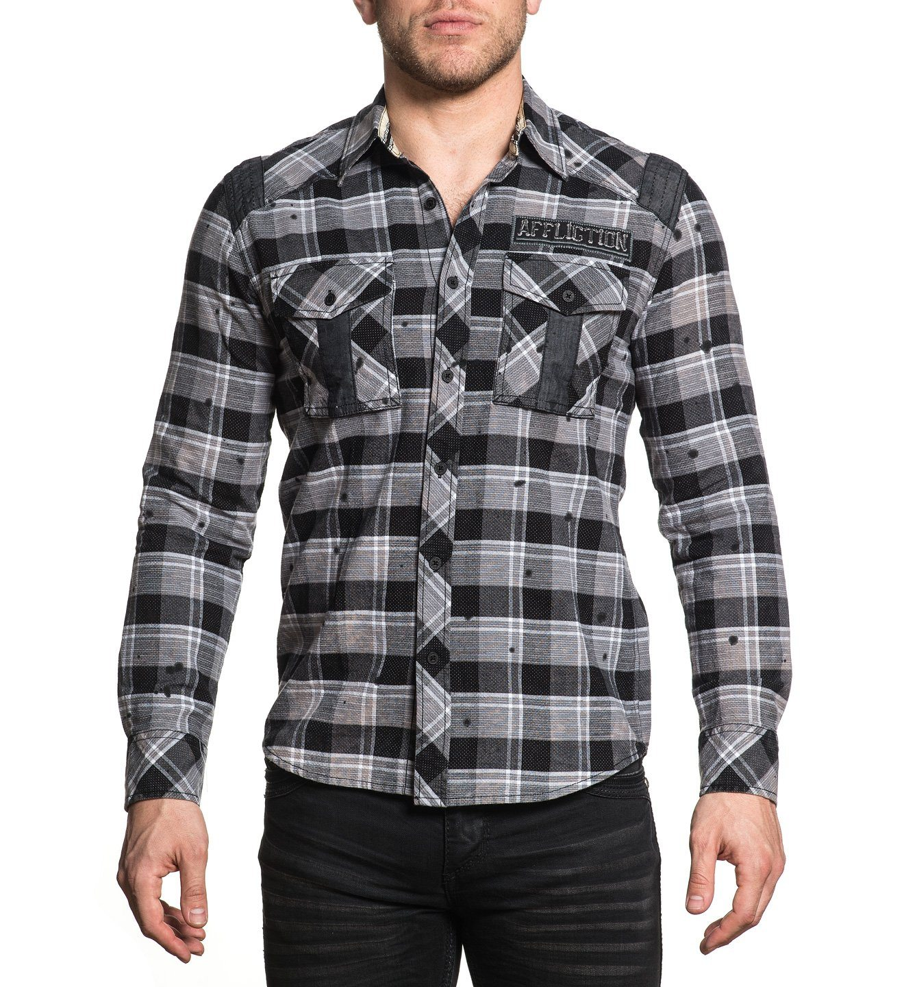 Render - Mens Button Down Tops - Affliction Clothing