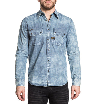 Mens Button Down Tops - Sunset Blues