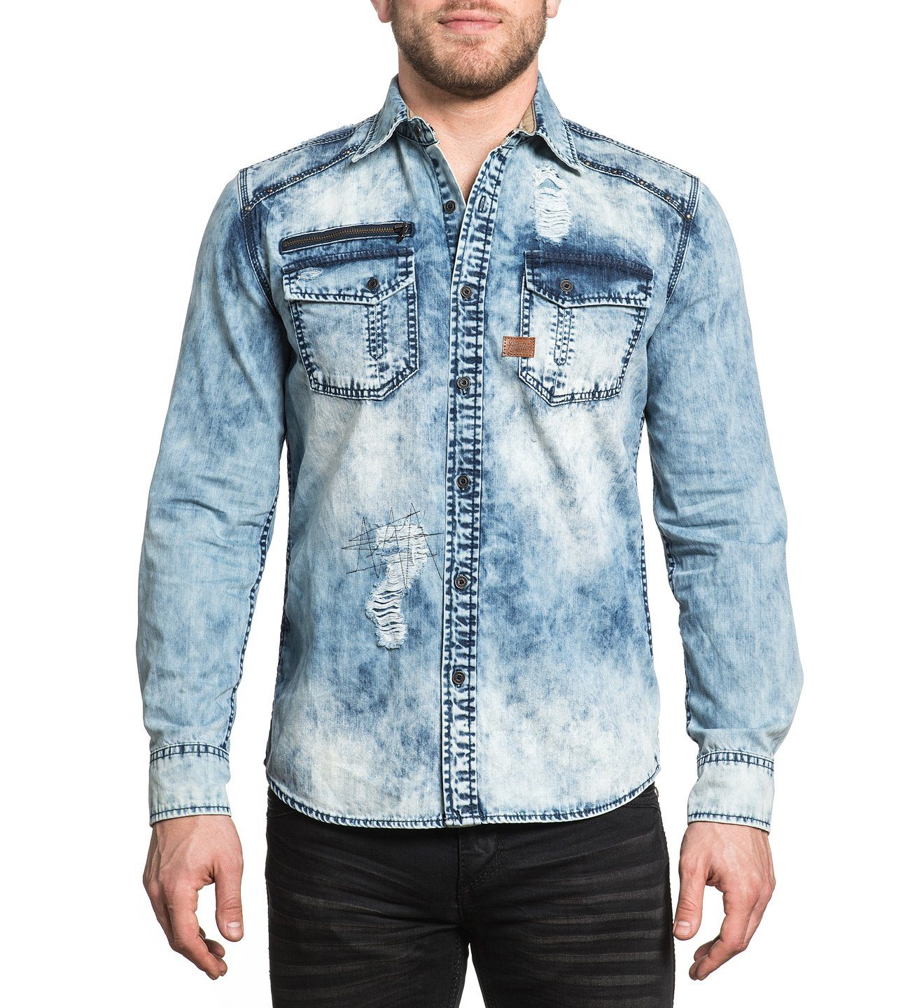 Union - Mens Button Down Tops - Affliction Clothing