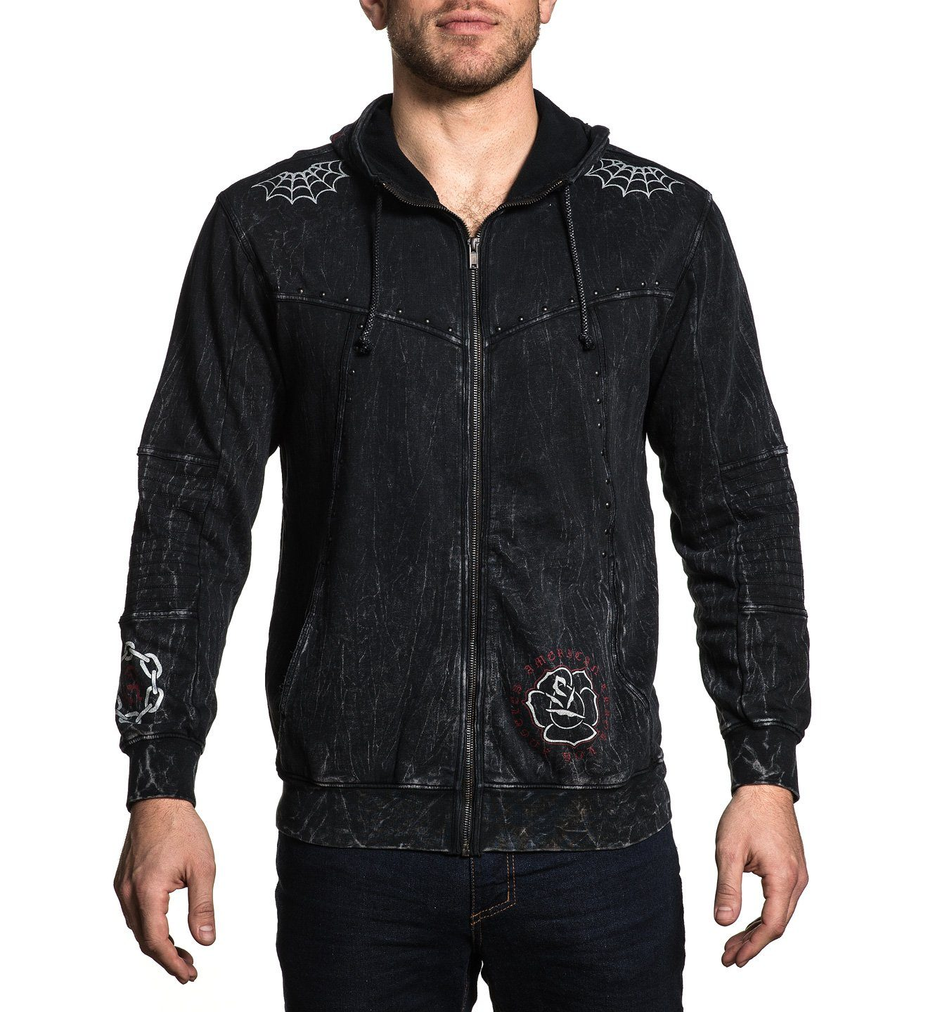 Snake Heart Zip Hood - Mens Hooded Sweatshirts - Affliction Clothing