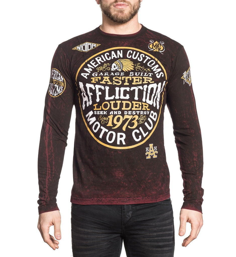 Mens Long Sleeve Tees - AC Petrol - Reversible