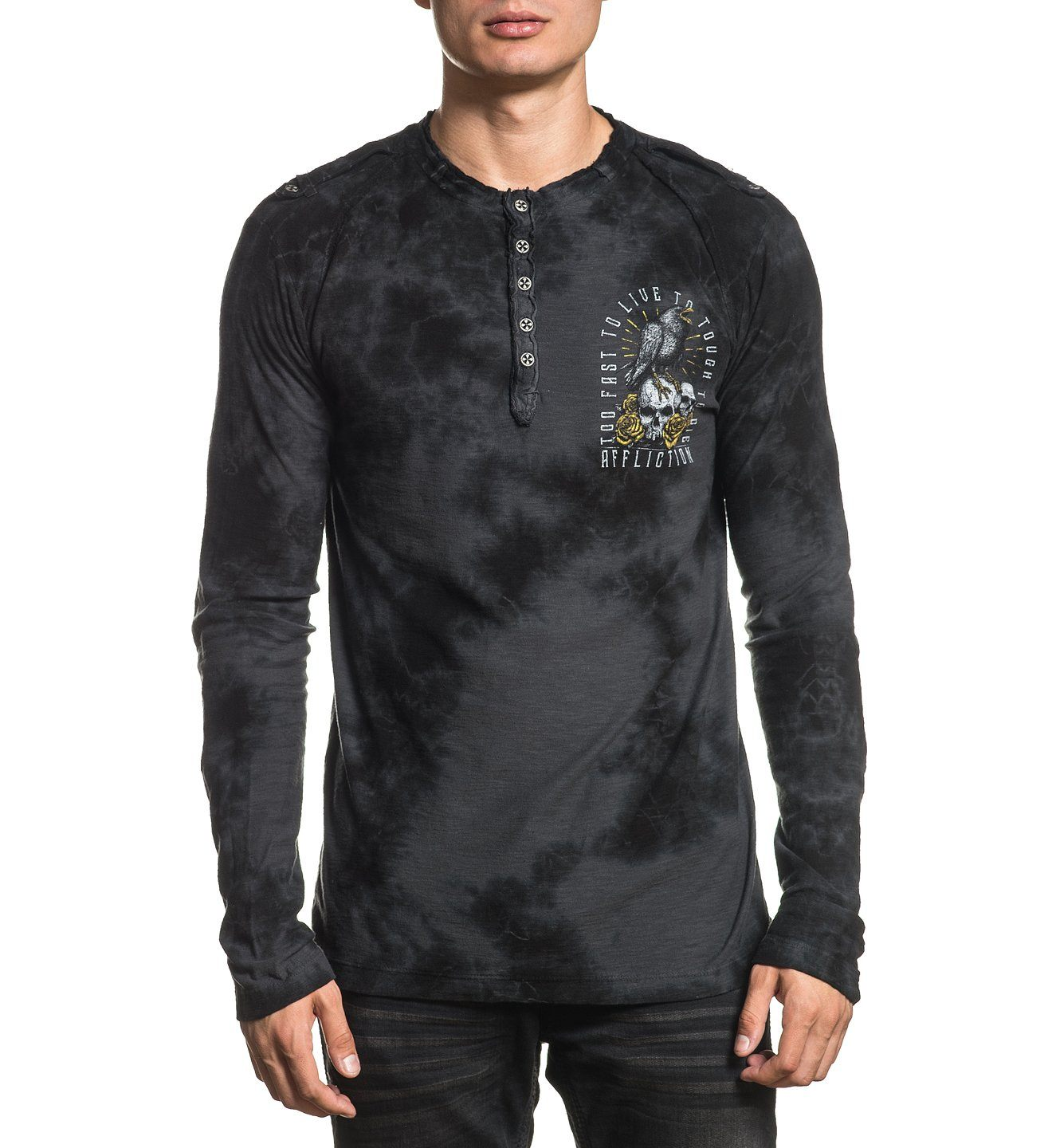 Mens Long Sleeve Tees - Black Crow