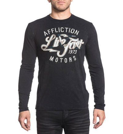 Motors Church Stitch - Mens Long Sleeve Tees - Affliction Clothing