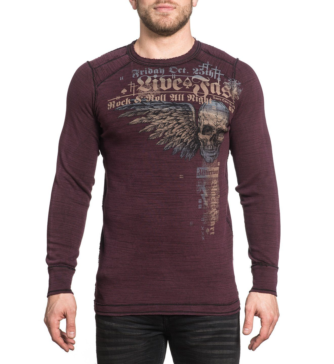 Rock Speed - Reversible - Mens Long Sleeve Tees - Affliction Clothing