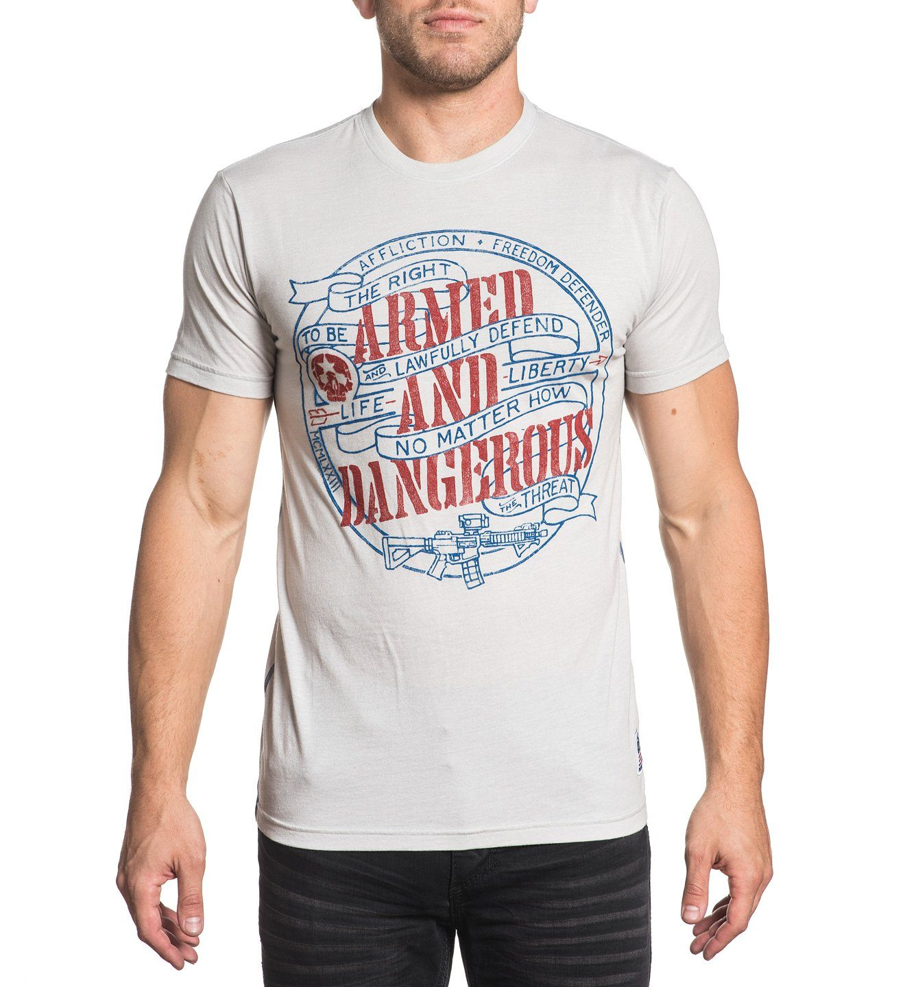 Mens Short Sleeve Tees - Dangerous - Light Grey