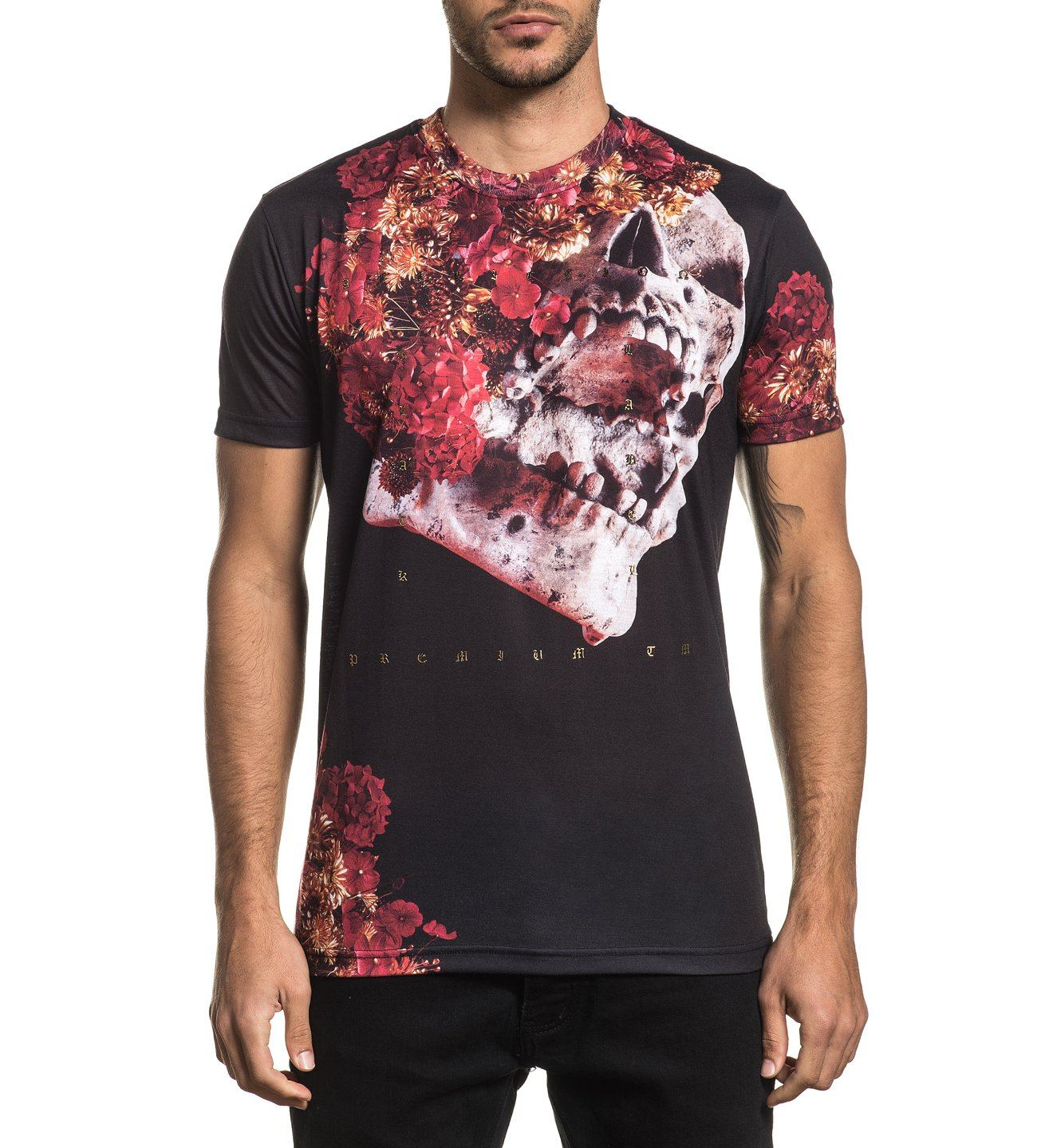 Mens Short Sleeve Tees - Skeleton Flower