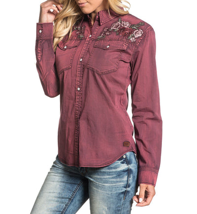 Womens Button Down Tops - Botanic