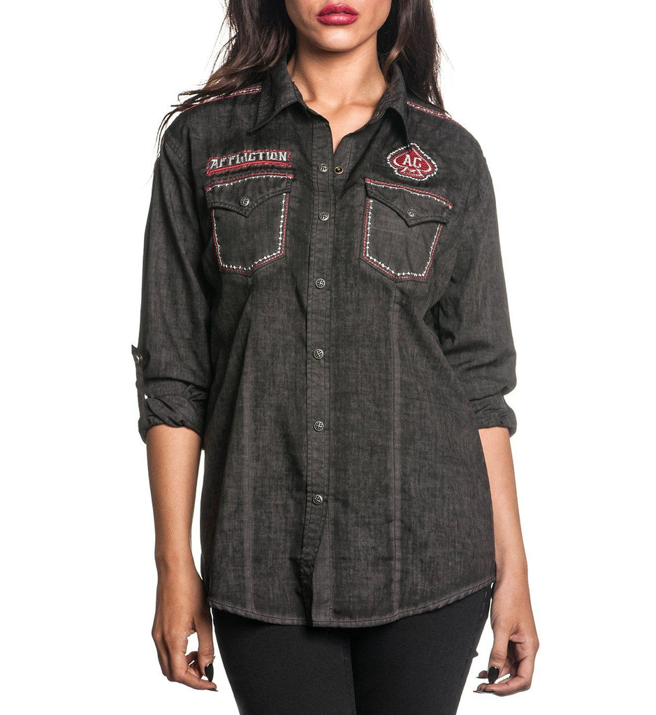 Womens Button Down Tops - Metal Mind
