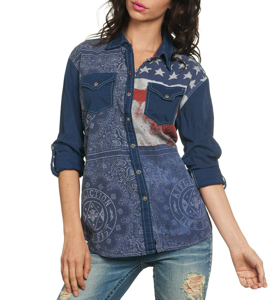 Womens Button Down Tops - Patriotic