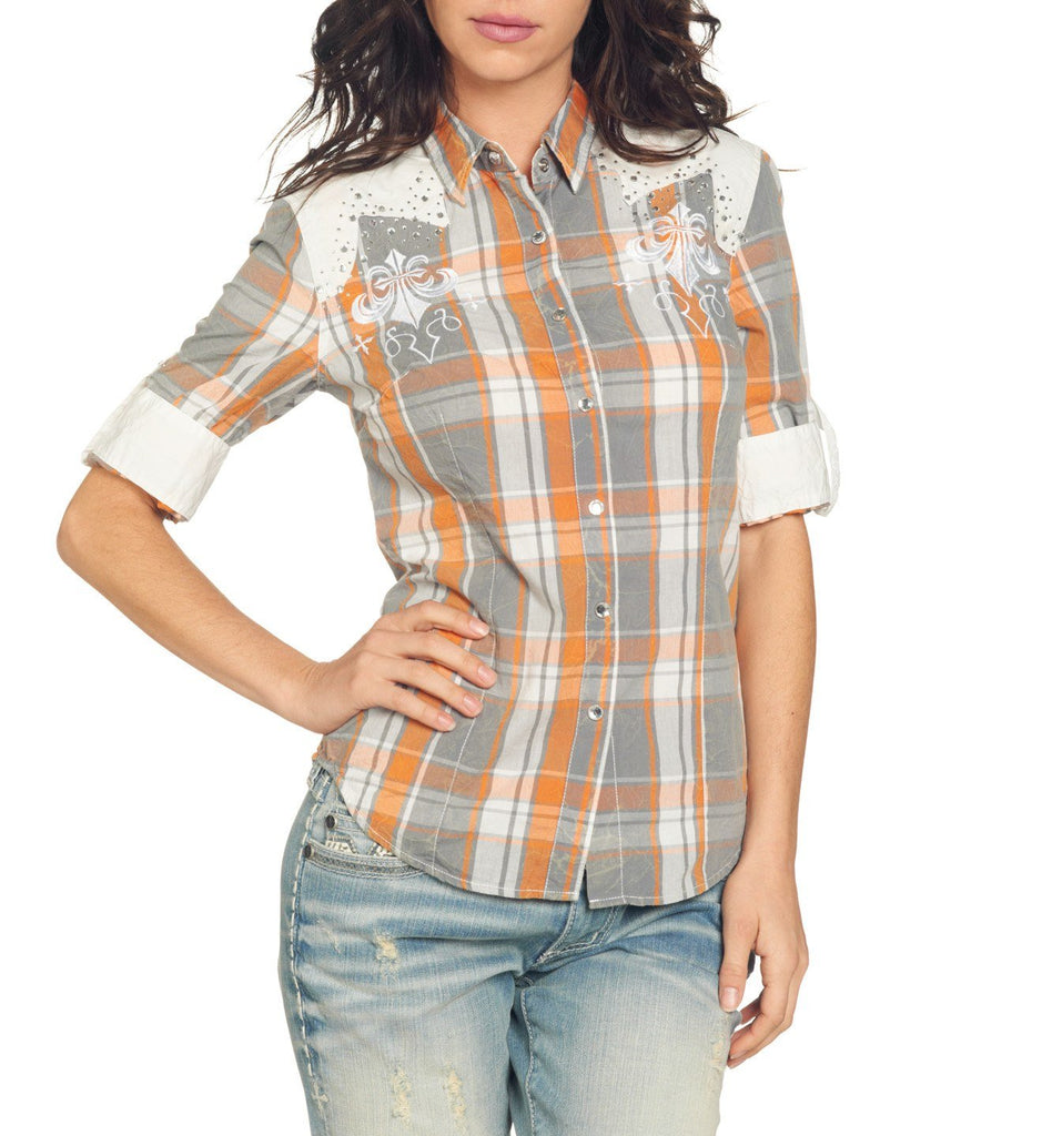 Womens Button Down Tops - Riding Wheels