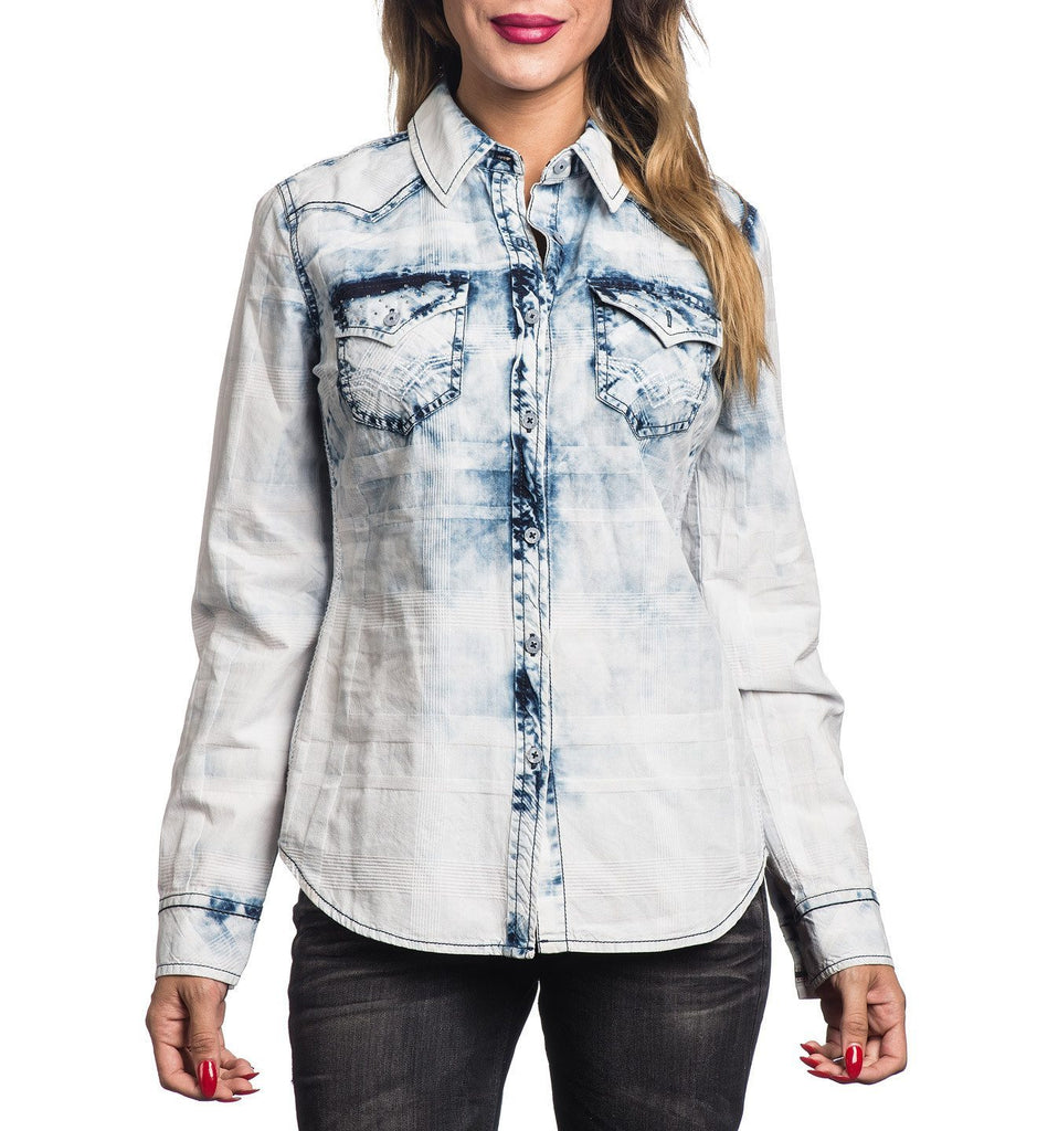 Womens Button Down Tops - Waterfall