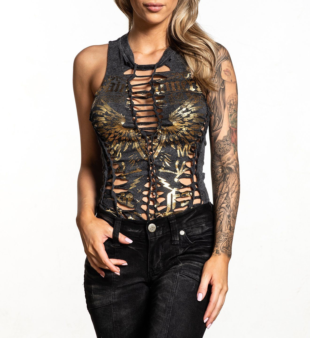Womens Custom Crafted - Saints & Sinners Bodysuit