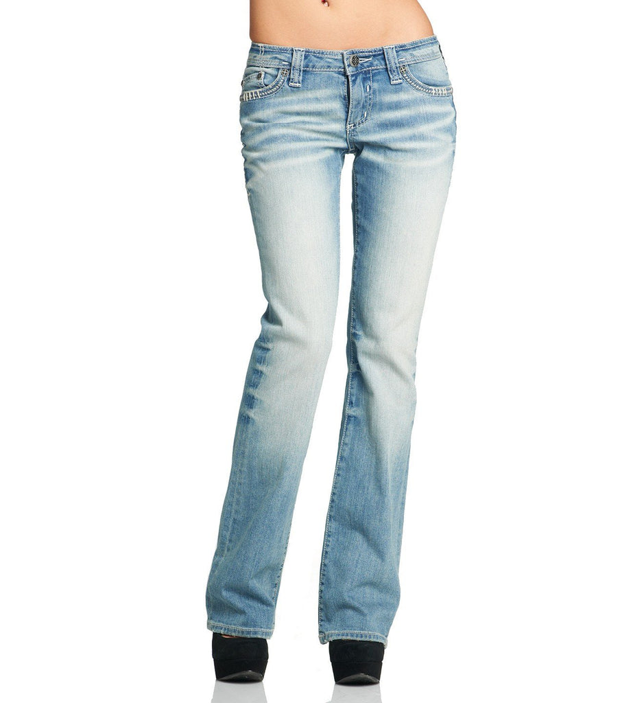Womens Denim Bottoms - Jade Cutout Fleur Flap Volume