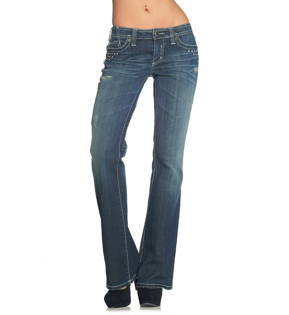 Womens Denim Bottoms - Jade Over V Stone Penelope