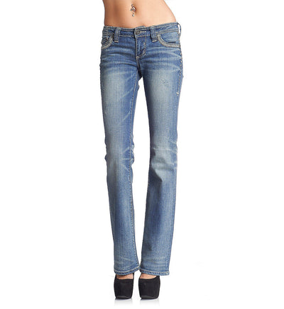 Womens Denim Bottoms - Jade Stone Cross Flap Firewall