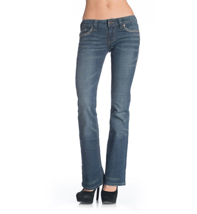 Womens Denim Bottoms - Jade Stone Cross Flap Mustang