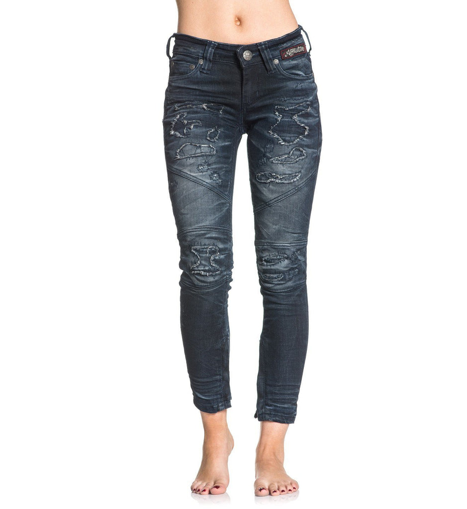 Womens Denim Bottoms - Raquel Rising Redwood