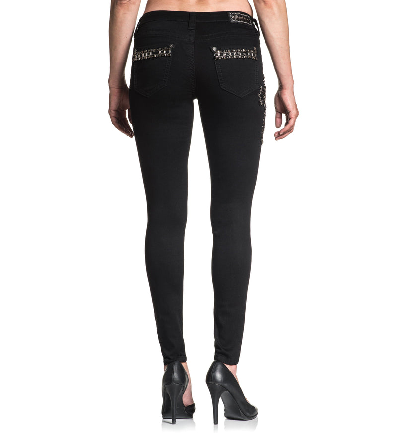 Womens Denim Bottoms - Raquel Standard Jet Black