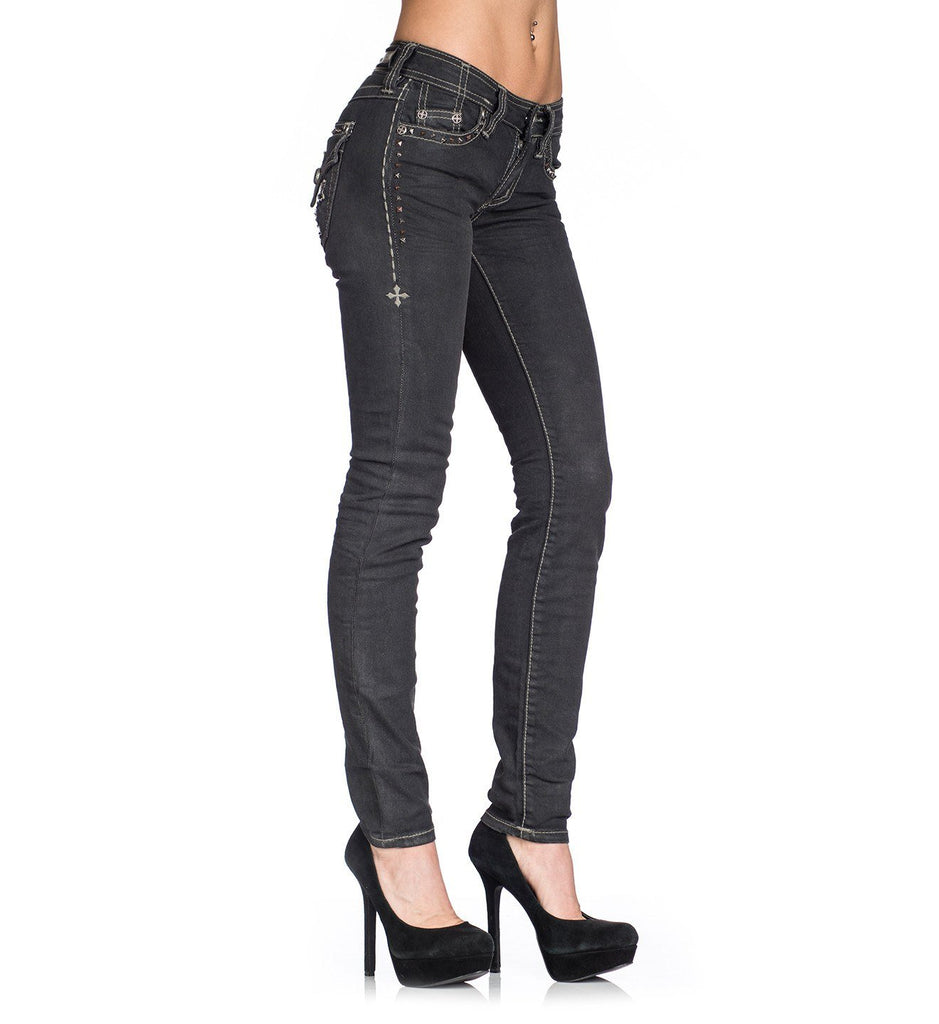 Womens Denim Bottoms - Raquel Stud Cutout Flap Black Sparkle