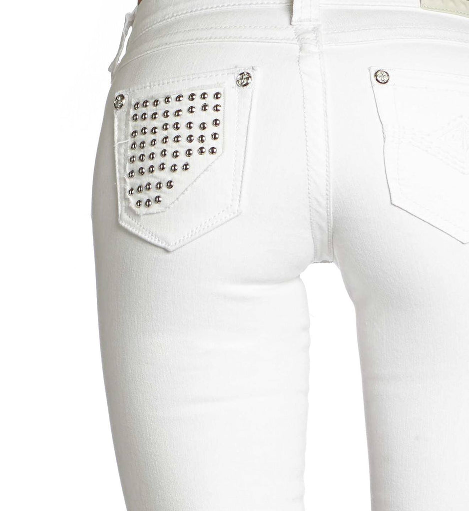 Womens Denim Bottoms - Raquel Tara White