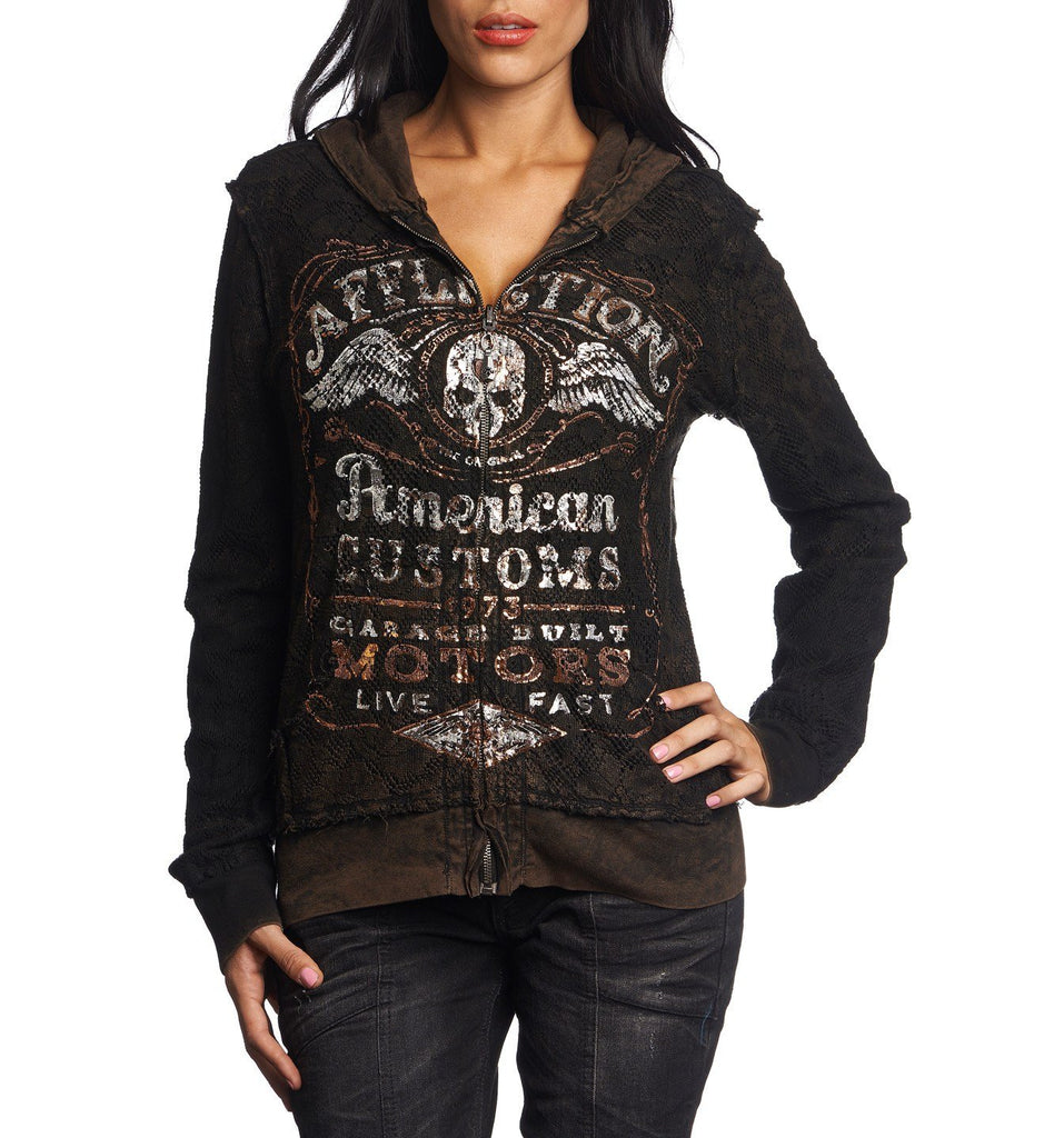 Womens Hooded Sweatshirts - Barrel Aged - Reversible