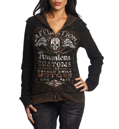 Barrel Aged - Reversible - Womens Hooded Sweatshirts - Affliction Clothing
