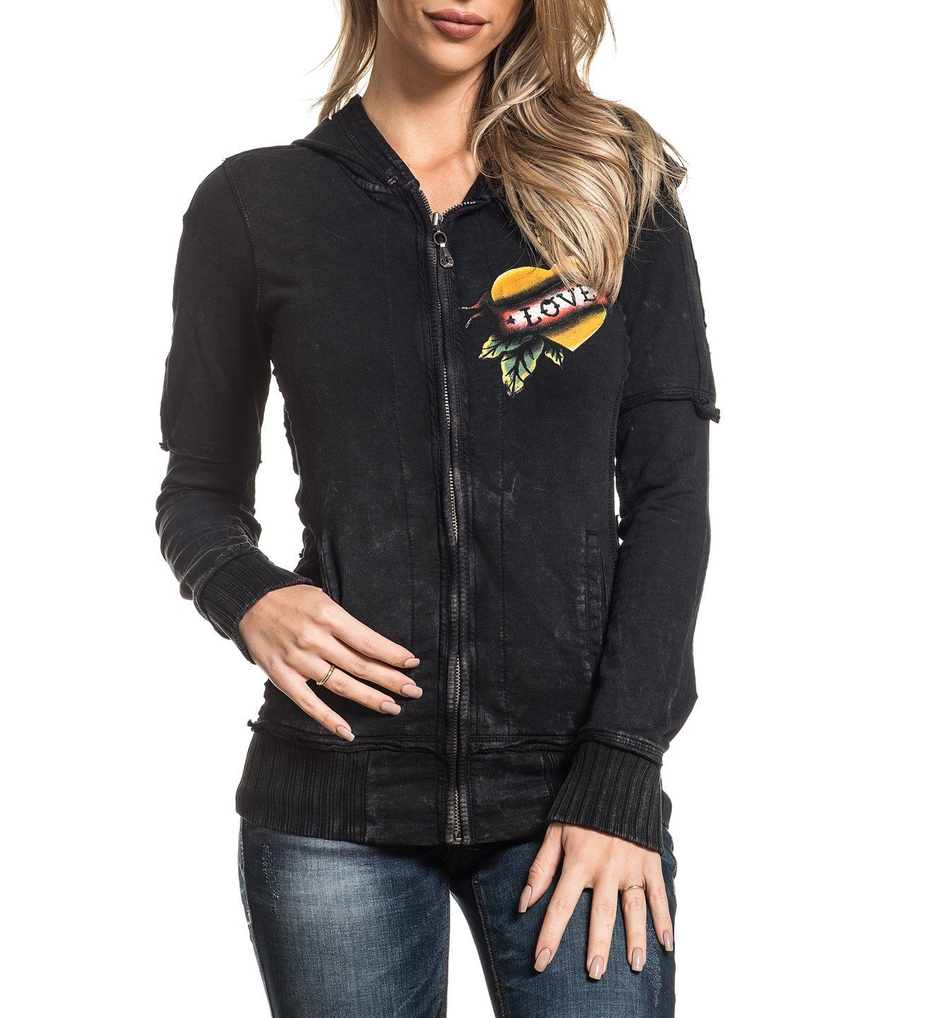 True Love Zip Hood - Womens Hooded Sweatshirts - Affliction Clothing