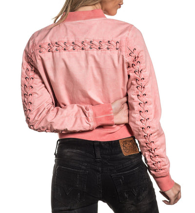 Womens Jackets - Lace Up Bomber Jacket
